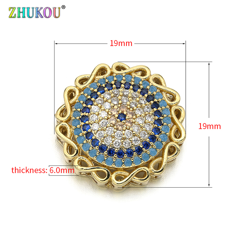 19*19mm  Fashion Brass Cubic Zirconia Round Shape Flowers Charms Connectors DIY Jewelry Findings Making, Model: VS293