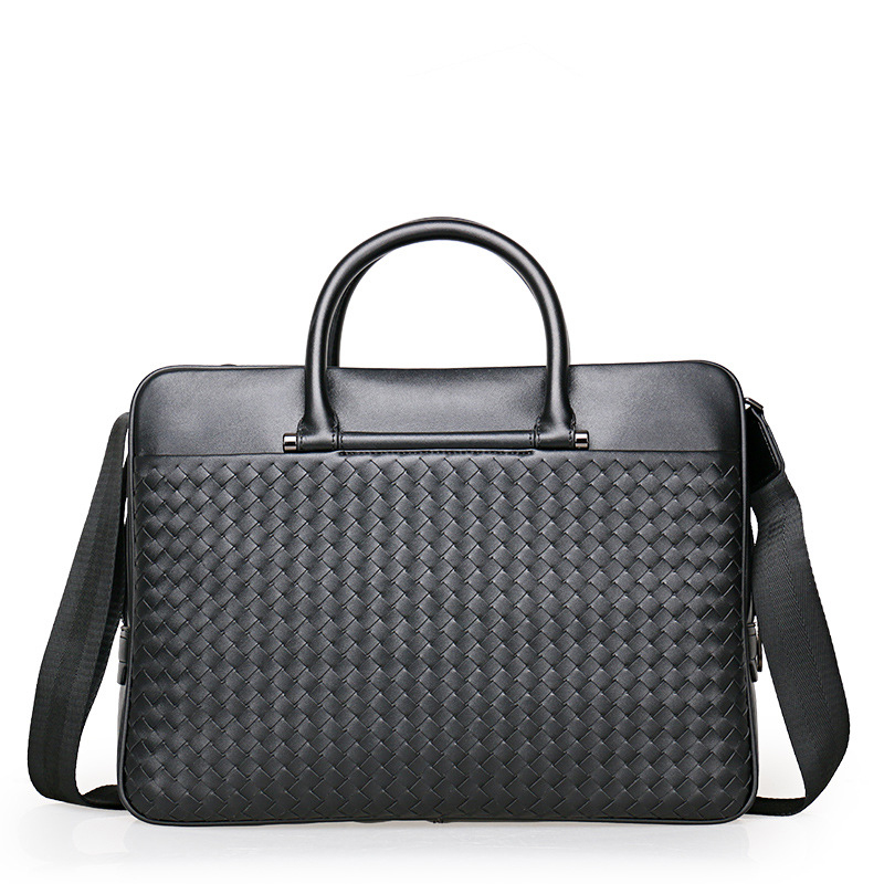Genuine Leather Business Men 's Handbag High Quality & Capacity Shoulder Bag Multi-compartment Briefcase Laptop Bag Woven Bags