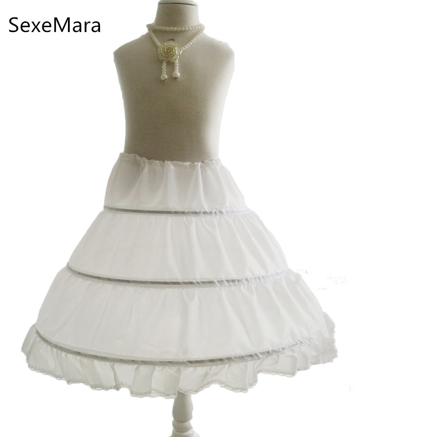 White Children Petticoat 3 Hoops One Layer Kids Crinoline Lace Trim   Flower     Girl     Dress   Underskirt Cancan Elastic Waist