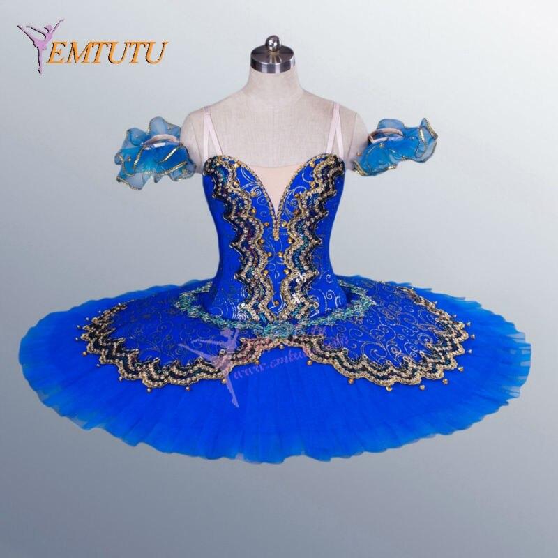 ballerina professional ballet tutus blue Gold women platter tutu blue bird performance tutus concert competition stage