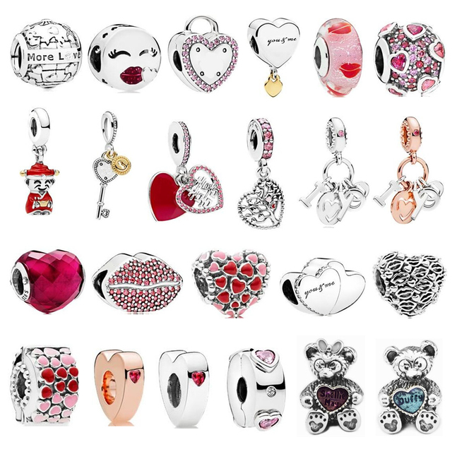 2018 Valentine's Day Collection Beads Real 925 Sterling Silver Charm Beads fits pandora Bracelet & Necklace DIY Jewelry making.