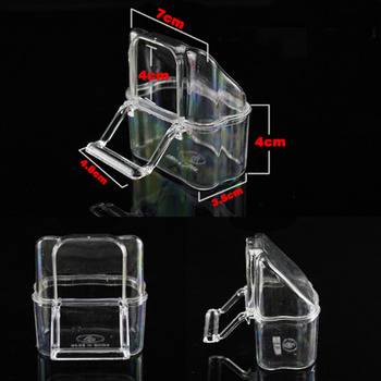 6 Pcs Cage Parrot Cage Special Transparent Water Splash Plugin Box Bird Water Feeder Bowl Plastic Birds Finches Pigeon Supplies 5