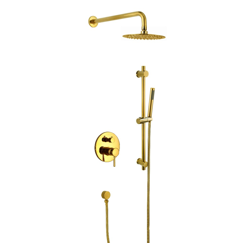 Wall mounted gold Color Rainfall shower bath tub faucet Single Handle Bathroom Mixer Tap & Shower Head Sets & Shower Slide Bar
