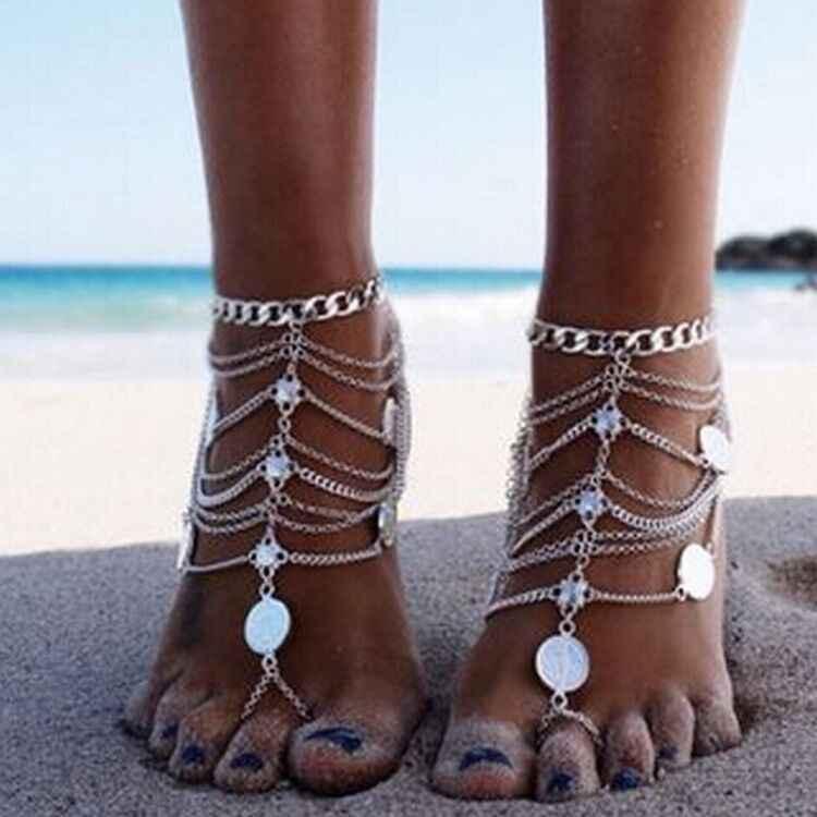Tybetański srebrny barefoot sandały plaża kostki bransoletki foot biżuteria cheville enkelbandje boho łańcuszek na kostkę czeski obrączki dla kobiet