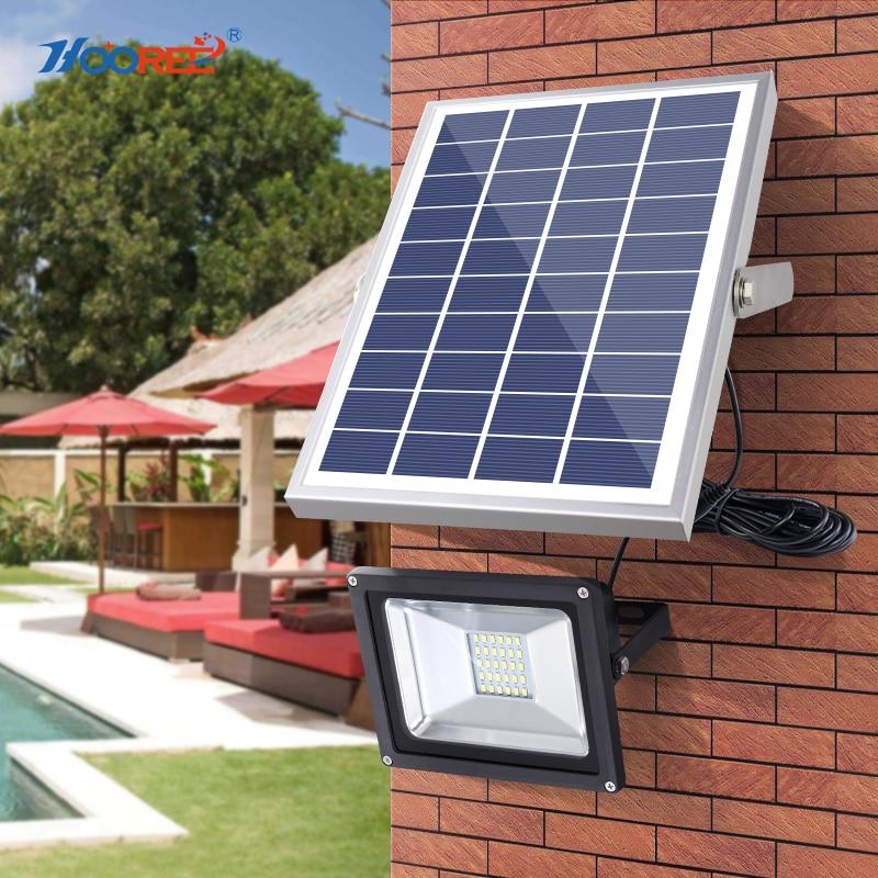 HOOREE 20 LED Solar Light Waterproof IP65 with Remote Control Solar Flood Light Aluminum Outdoor Garden Garage Led Solar Lamp