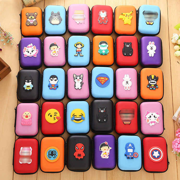 2019 Cartoon Zipper Earphone Storage Bag Case For Headphone Earbuds Key Coin Hard Holder Earphone Protector USB Cable Organizer