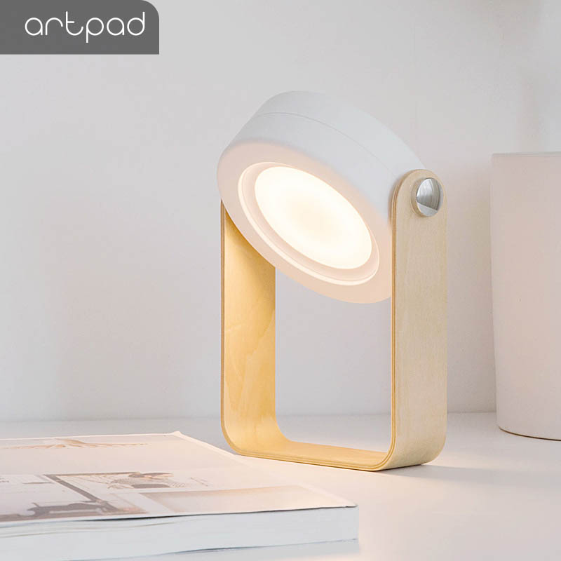Artpad Portable Lantern Adjustable Rechargeable Night Light with Wood Base White Gray Table Night Light Good for Child Gift|Desk Lamps|Lights & Lighting - title=