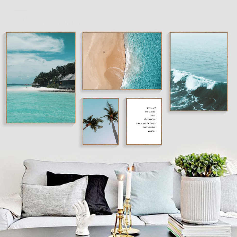 Sea Wave Beach Palm Tree Travel Quotes Wall Art Canvas Painting Nordic Posters And Prints Wall Pictures For Living Room Decor