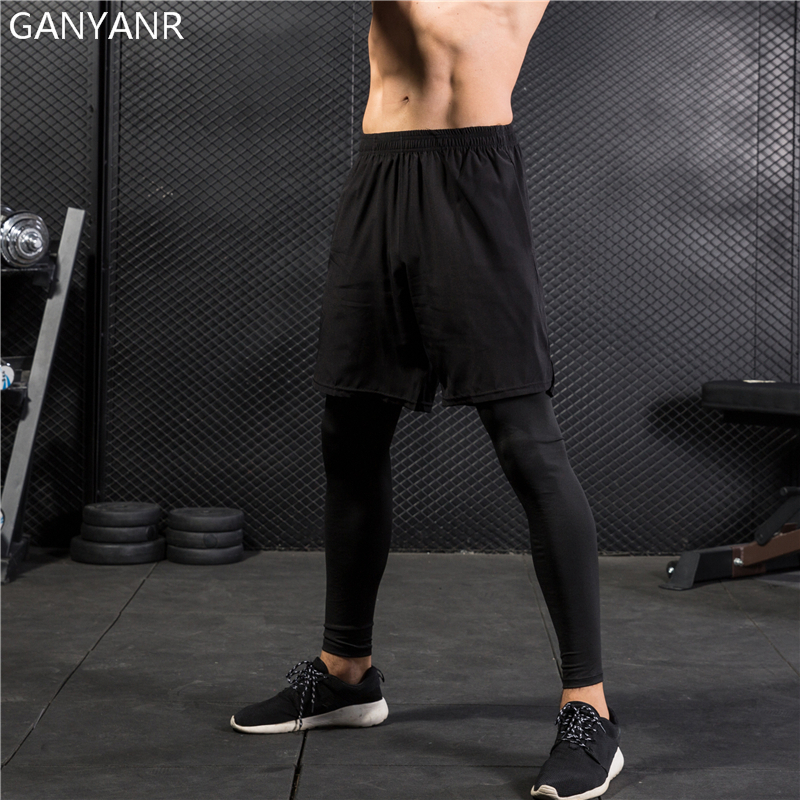 GANYANR Running Tights Men Yoga Basketball Compression Pants Athletic Leggings Sport Skins Training quick dry 2 in 1 Gym Fitness in Running Tights from Sports Entertainment