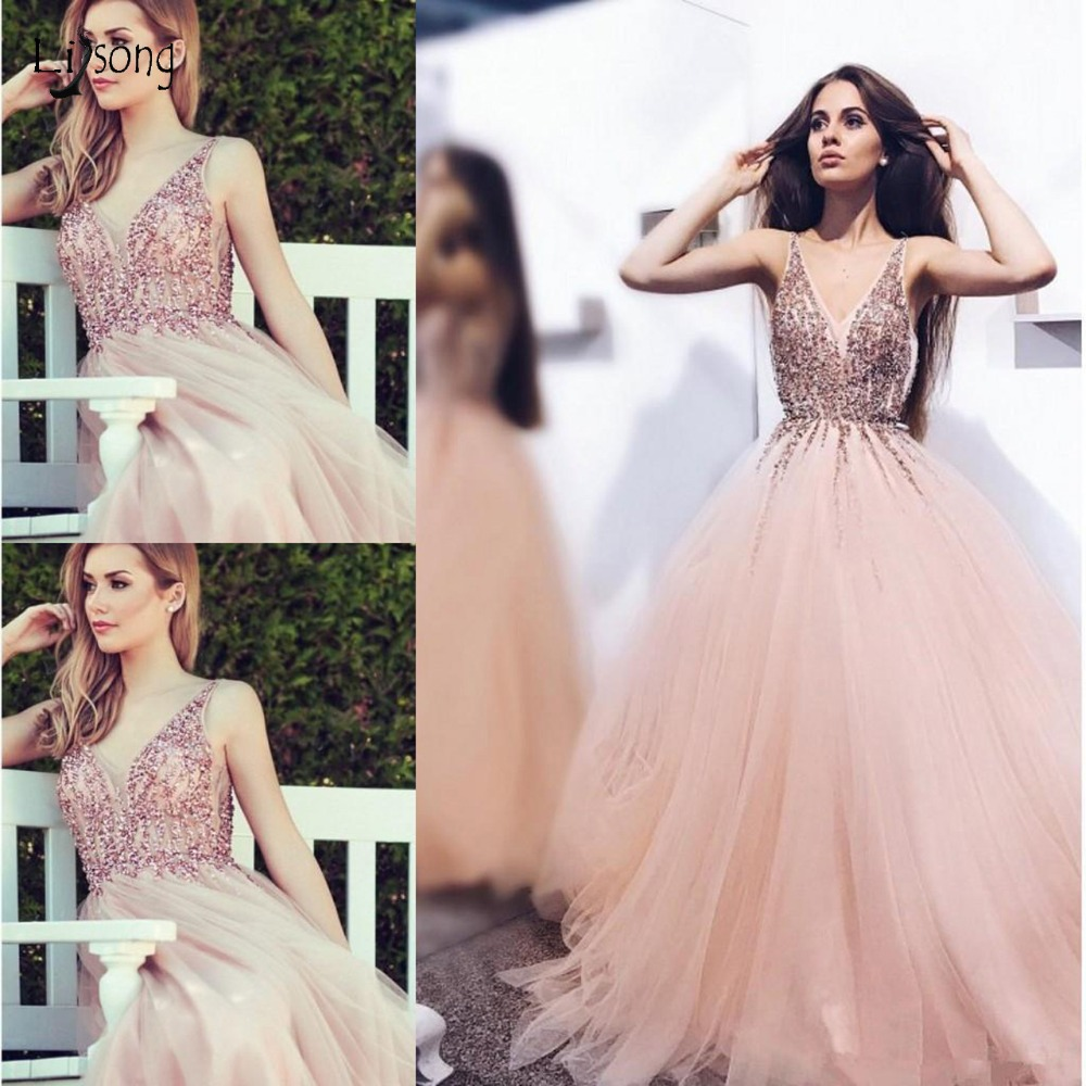 Dreamlike Rhinestone Blush Pink   Prom     Dresses   A-line Tutu   Prom   Gowns Double V-neck Long Formal Party   Dresses   Crystal Abiye