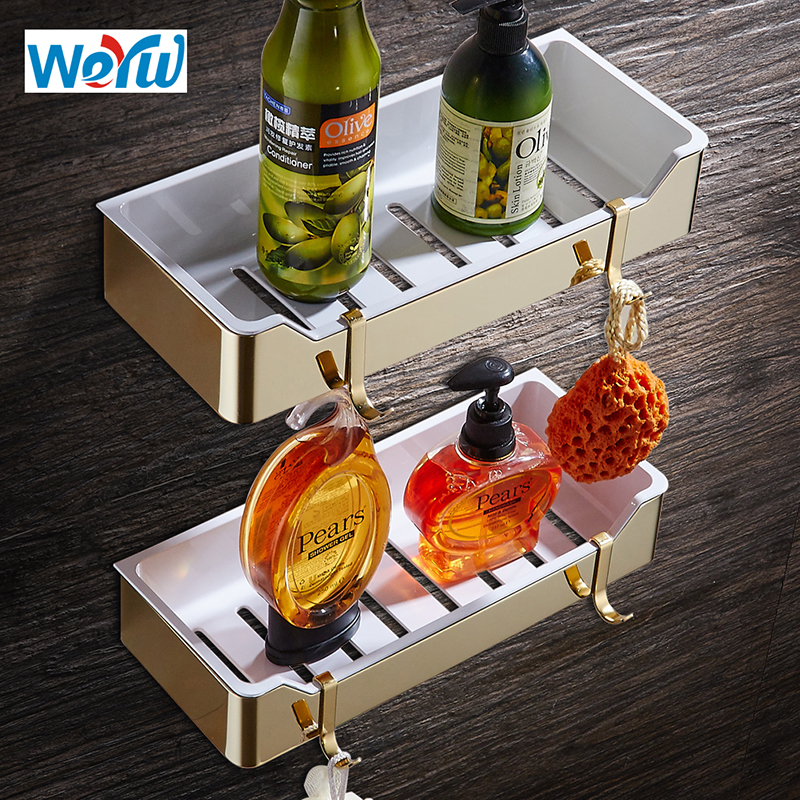 WEYUU Gold Stainless Steel+ABS Plastic Shampoo Soap Cosmetic Storage Organization Wall Mount  Bathroom Shelves