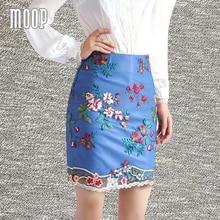 Women mesh lace floral embroidery blue black genuine leather sheepskin lamb pencil mini skirt faldas jupe saia etek LT1594