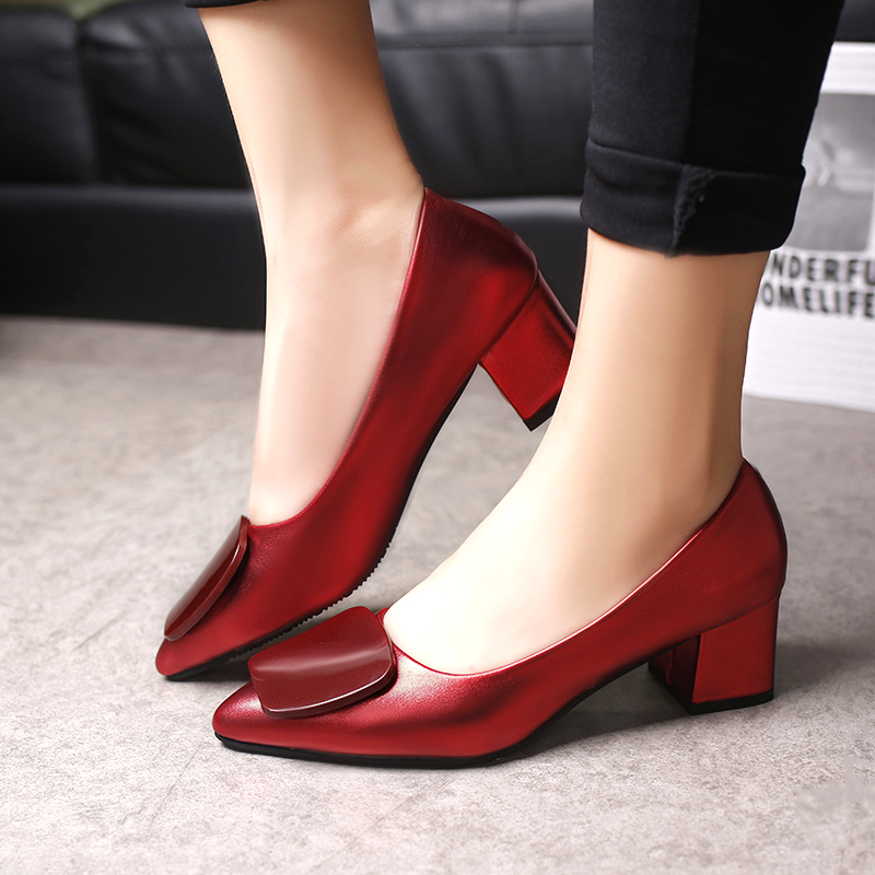 2019 Spring Woman Med Heels Boat Shoes Gun Color Pointed Toe Pumps Square Heeled Patent Leather Ladies Shoes Zapatos Mujer 33h4