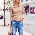 Outono Novas Mulheres Sexy Bodycon Oco Para Fora T-shirt de Corte Baixo buraco Rasgado Slim Fit Tops Assentamento Camisas de Manga Longa Clubwear Blusas