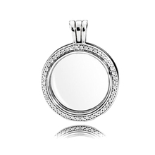 цена Authentic 925 Sterling Silver Sparkling Floating Locket Necklace Pendant Fit Original Pandora Petite Charms Women DIY Jewelry онлайн в 2017 году