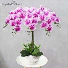 95 Cm 9 Hoofden Kunstmatige Bloem Real Touch Latex Vlinder Orchidee Decor Office Thuis Kerst Bruiloft Pu Bloemen Artificials Pot
