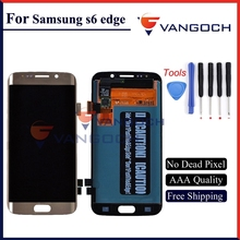 Super Amoled Original LCD For Samsung Galaxy S6 Edge G925F LCD Screen Digitizer Assembly Gold/White/Blue free shipping and tools