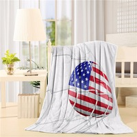 USA American Flag Printed Soccer Ball in a Net Goal Success Stylized Artwork Flannel Throw Blanket Lightweight Cozy Bed Sofa