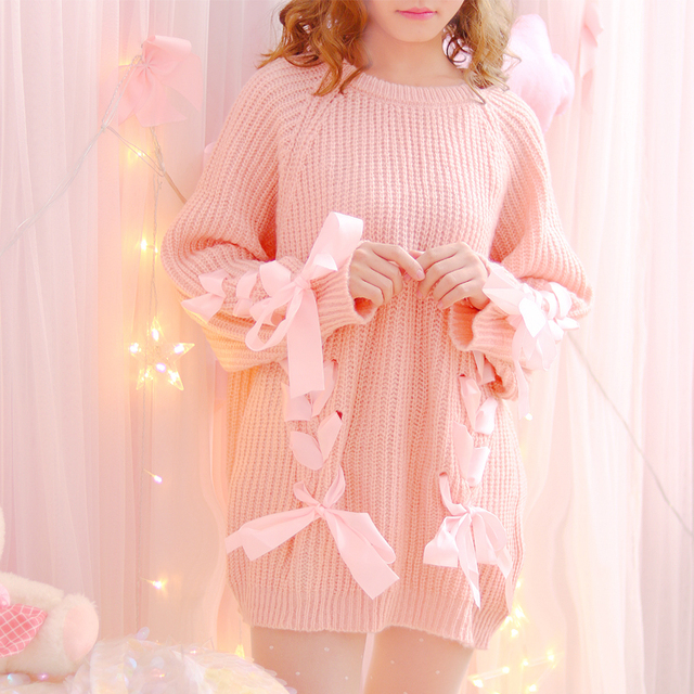 Autumn Japanese Women Sweaters Lace Up Ribbons Young Girl Fashion Lovely  Cute Knitting Shirt Pink Kawaii Long Sweater for Lady 687860c5e