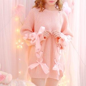 Jerséis japoneses de otoño para mujer, con lazos, a la moda para chica joven, bonita camisa de punto, Jersey largo Kawaii rosa para mujer