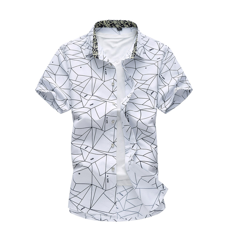 Summer New High Quality Men's Shirts Short Sleeve Printed Casual Slim Fit Social Men Shirt Big Size XXXXL XXXXXL XXXXXXL 7XL