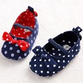 Sweet Polka Dot Red Blue Butterfly-knot Baby Girl Shoes Hot Selling Newborn Kids Casual Prewalkers First Walkers Baby Shoes