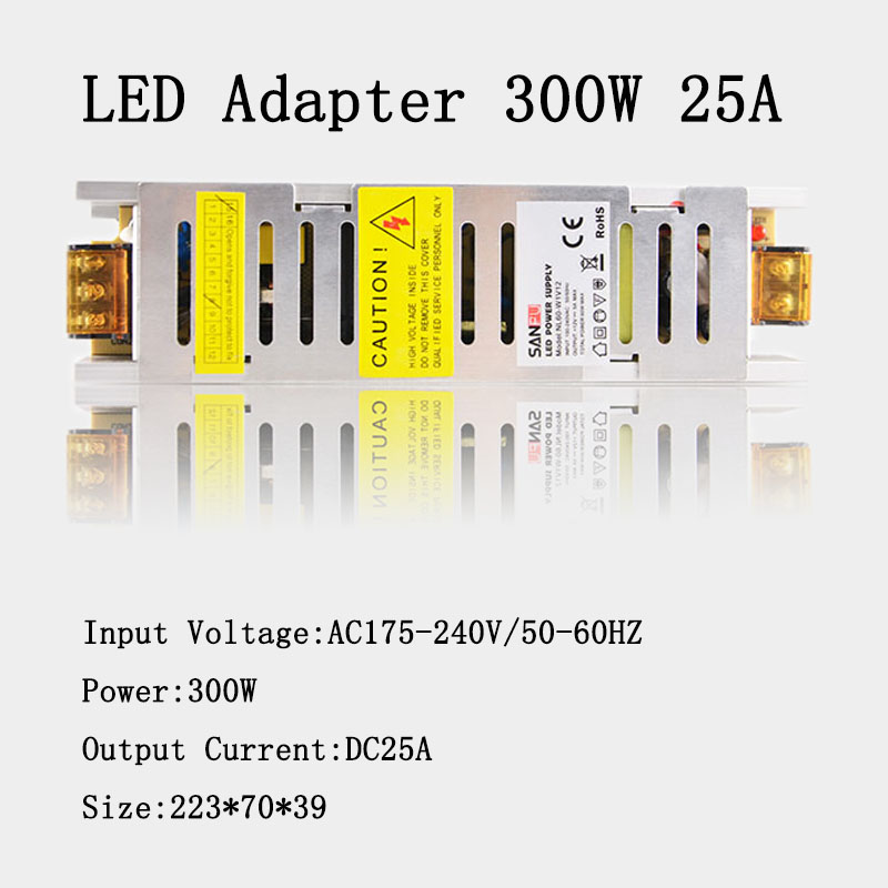 300W LED Switching Power Supply DC12V 25A Input Voltage AC220V LED Transformer Adapter for LED Strip Display best quality 12v 15a 180w switching power supply driver for led strip ac 100 240v input to dc 12v