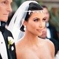 2 PCS Moda Prata Cristal Rhinestone Headband Do Cabelo Jóias Mulheres Acessórios Para o Cabelo Nupcial Do Casamento Da Flor Cabeça Cadeia Headpiece