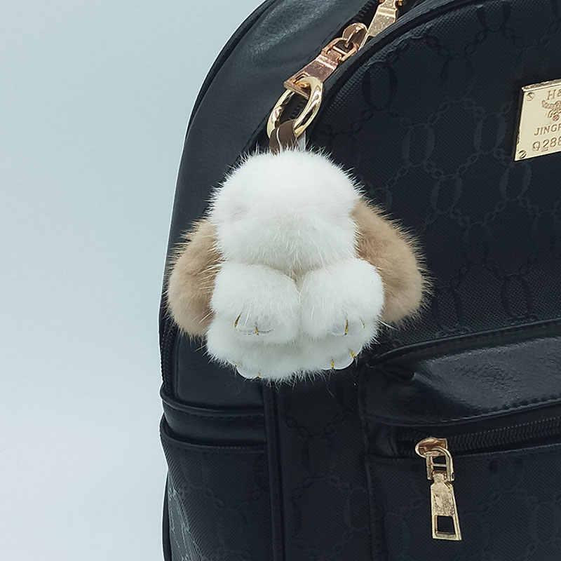 8 centímetros Bonito Real Mink Chaveiro Mini Chaveiro Coelho 100% Bolsa De Pele De Vison Natural Pingente de Design da Nova Chave cadeia de Acessórios