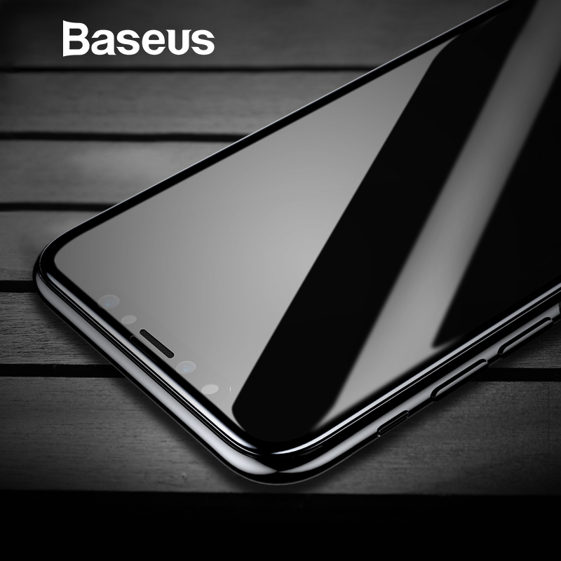 Baseus de vidrio templado para iPhone X Protector de pantalla 4D superficie cobertura completa de vidrio para iPhone X película frontal 0,3 MM película delgada