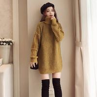 2019 Autumn Winter Women Elegant Solid Turtleneck Pullover Oversize Top Sweaters Vestidos Female Warm Kintted Tricot Dresses H52