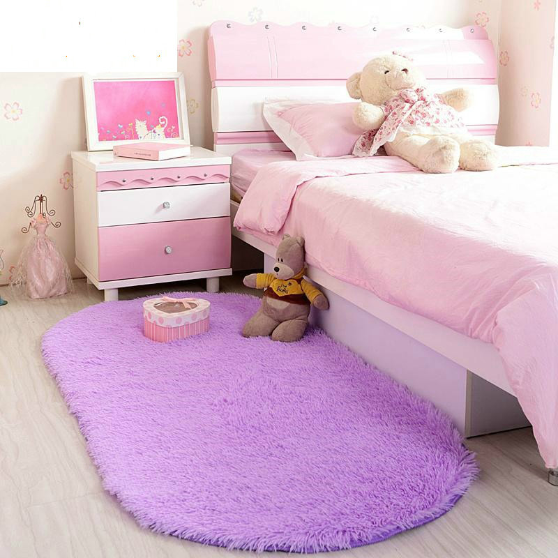 Ellipse Shape Pink Area Rug Bedroom Living Room Short Hair