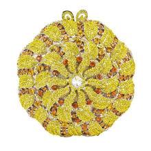 Gelb Luxus Abend-handtasche Diamant Kristall Kupplungen Geldbörse für Prom Damen Runde Hochzeit Braut Bling Bankett Tasche 178