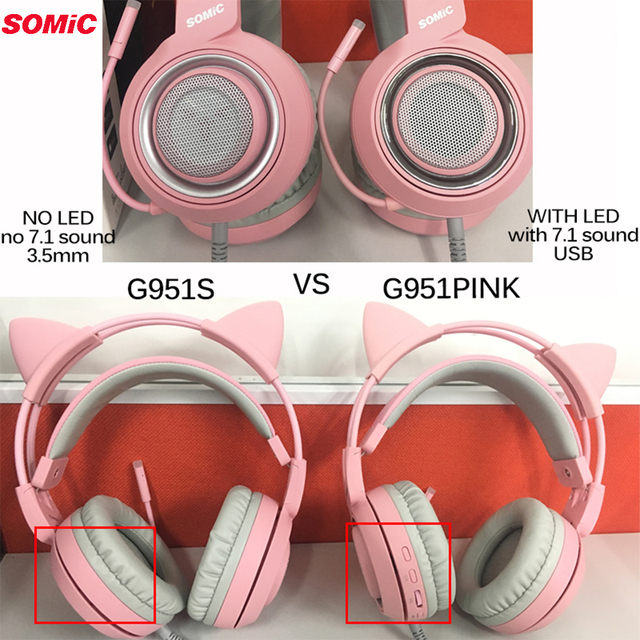 SOMIC G951 Pink Cat Headphones Virtual 7.1 Noise Cancelling Gaming Headphone Vibration LED USB Headset kids Girl Headsets for PC 5