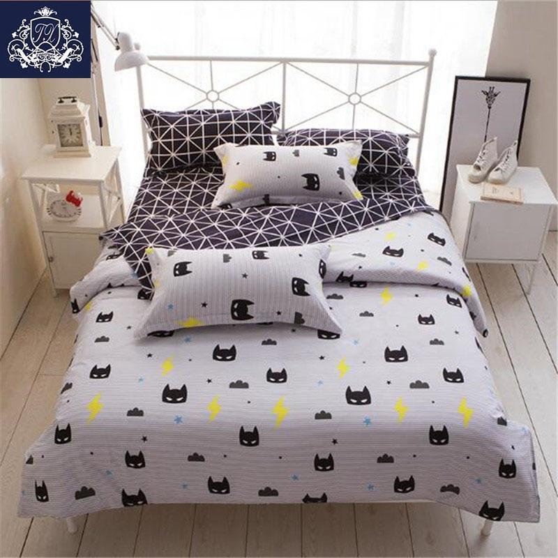 Batman Mask Print Bedding Set Cartoon Style White Color Kids Twin Full Queen Size Duvet Cover Sheet Pillowcase Bedding Sets