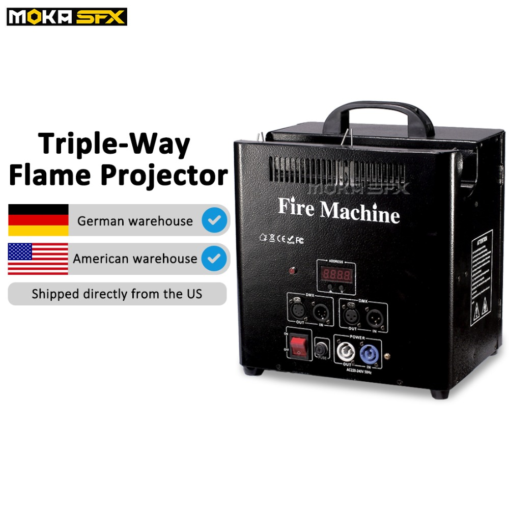3 Heads fire Machine Triple flame machine with safe channel DMX control Flame projector for Wedding Party Stage Disco Effects