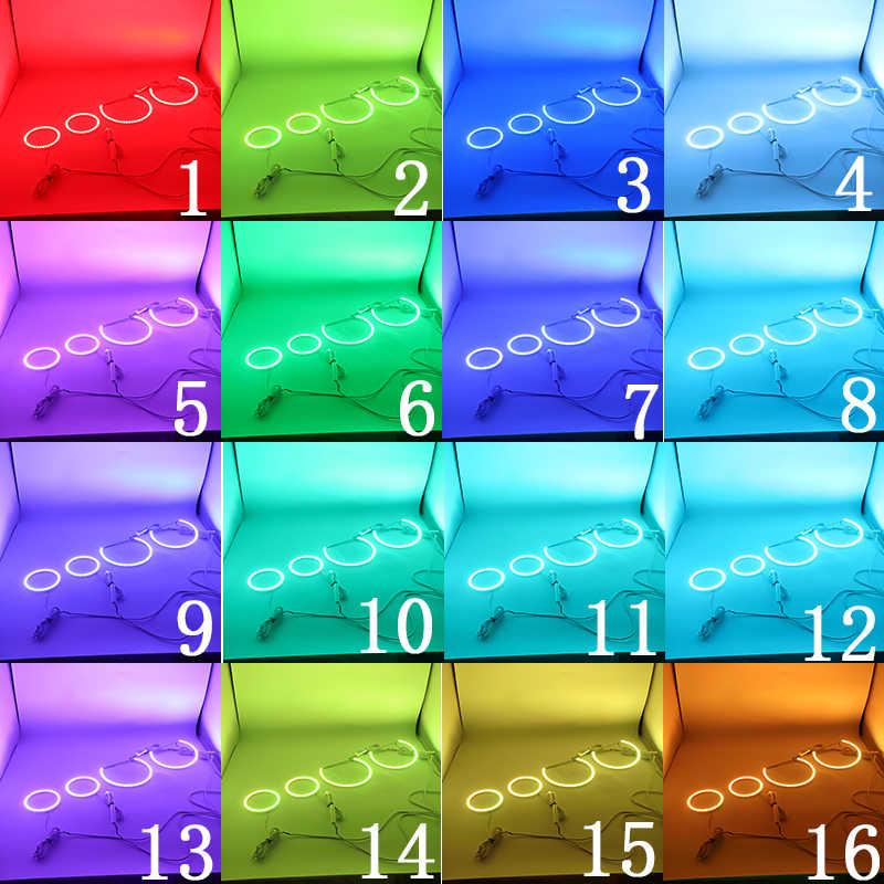 BMW için E46 3 serisi kompakt 2001-2005 çok renkli Led melek gözler kiti RGB Halo yüzükler gündüz çalışan işık DRL