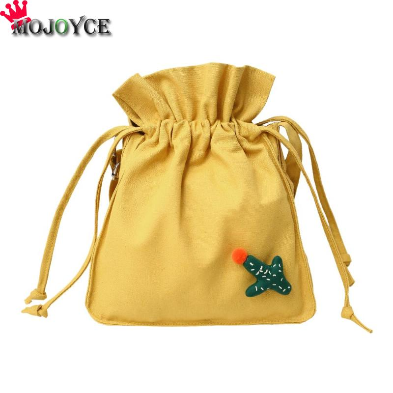 Cactus Drawstring Shoulder Bag Bucket Canvas Travel Crossbody Handbags Ladies Messenger Bags