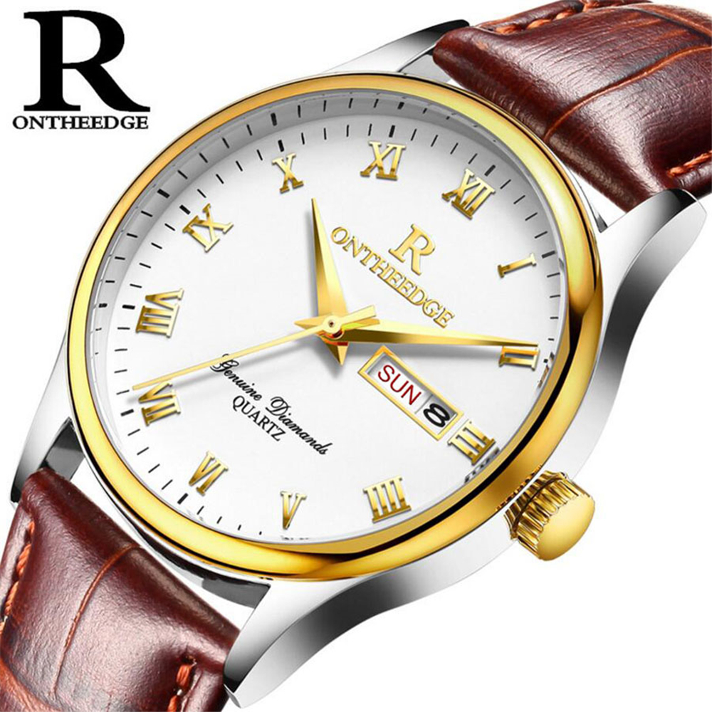 2017 Top Luxury Brand Men Leather Business Watches Mens Quartz Date Clock Men Wrist Watch Fashion Quartz-Watch relogio masculino qmn women genuine leather platform flats women lace cut glossy leather square toe brogue shoes woman lace up leisure shoes 34 39