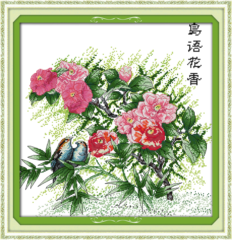 Flowers and birdsong(3), counted printed on fabric DMC 14CT 11CT Cross Stitch kits,embroidery needlework Sets, Home Decor