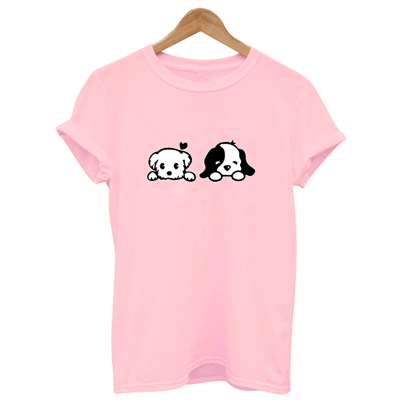 2019 CUTE DOG pink Print tshirt Cotton Casual   t     shirt   female Tops Tee Hipster Tumblr harajuku