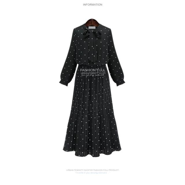 Fashion Dot Printed Boho Maxi Dress New Spring Autumn Long Sleeve Slim A-line Party Robe Female Bow Pleated Dresses Vestido