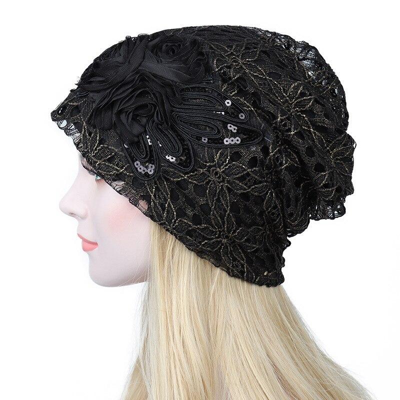 Set Head Cap Maam Autumn And Winter Lace Hats Korean Trend Hat Double-deck Confinement Hat Windbreak Air Conditioner Hat