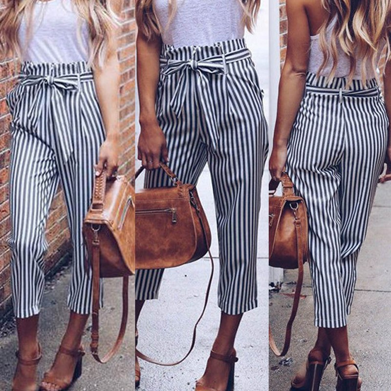 2018 Summer Women Casual Mid Waist Pants White Striped Bow Tie Drawstring Sweet Elastic Waist Pockets Comfortable Trousers