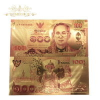 10pcs/lot Thailand Gold Foil banknote 100 Baht Banknotes in 24k Gold Double Side Printing, Banknotes Paper Money For Collection