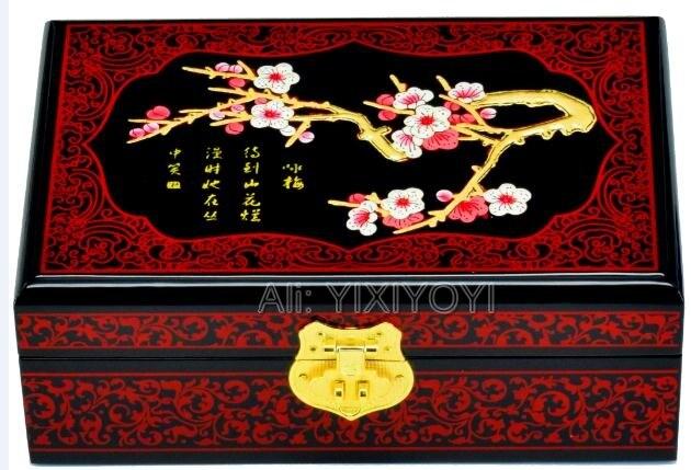Almacenamiento de madera de 2 capas Retro chino con caja de joyería de espejo organizador pendiente caja de exhibición caja contenedor de transporte de boda-in Envase y exposición de joyería from Joyería y accesorios    1