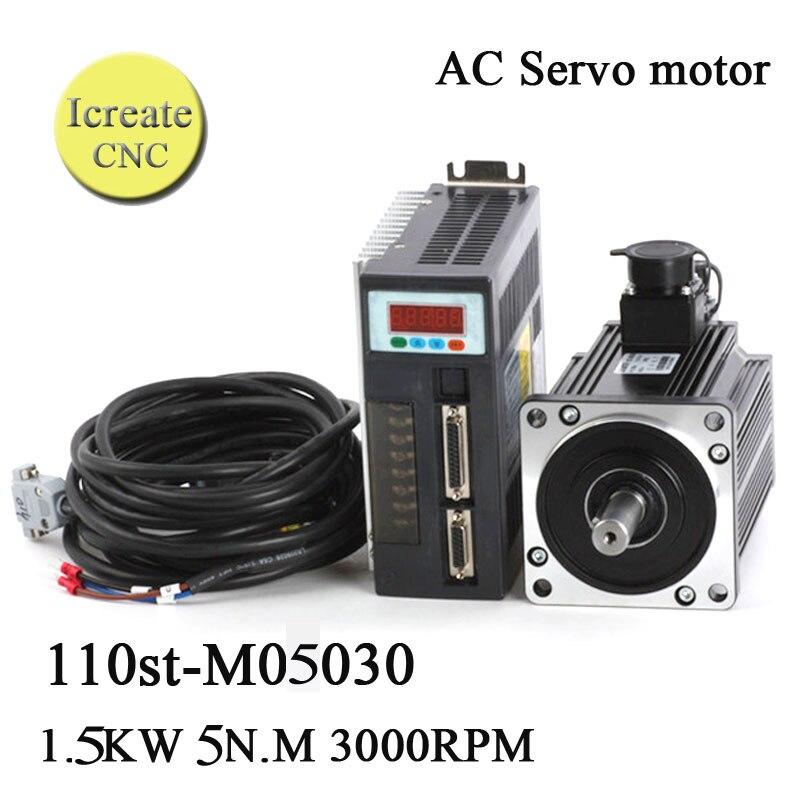 Free Shipping 1.5KW Servo Motor Kit  110ST-M05030 AC 220V  5 N.M 3000rpm Servo System Matched Servo Driver