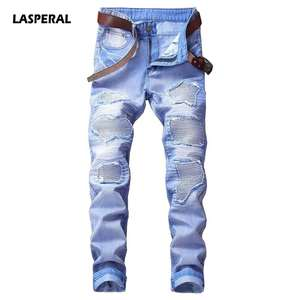 85551254 LASPERAL 2018 Fashion Hip Hop Patch Men Retro Jeans Knee Rap Hole Moto  Biker Jeans Men Loose Slim Destroyed Torn Ripped Denim