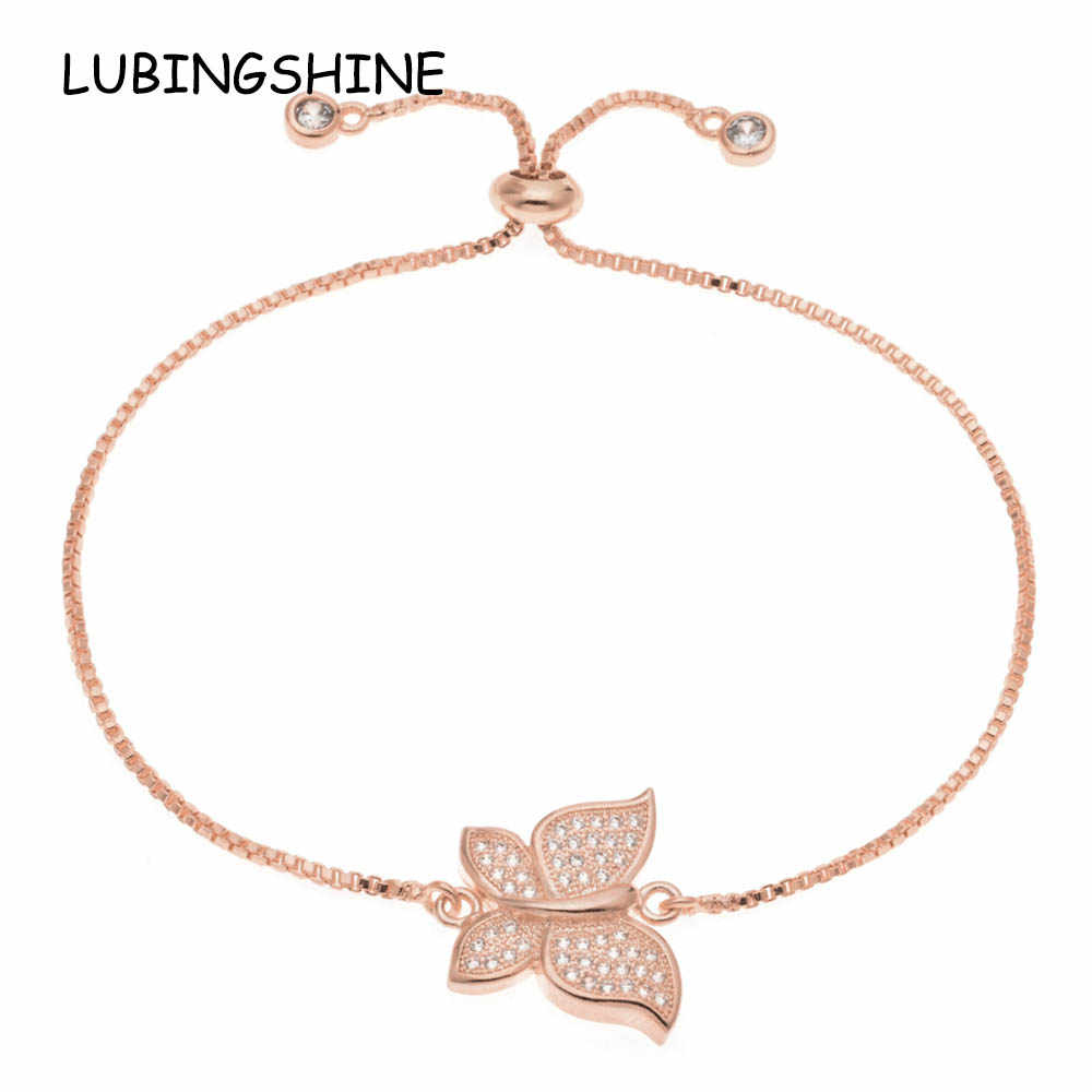 LUBINGSHINE Cute Women AAA Cubic Zirconia Butterfly Charms Bracelets Yellow Gold Color Copper Chain Pulsera Jewelry Wedding