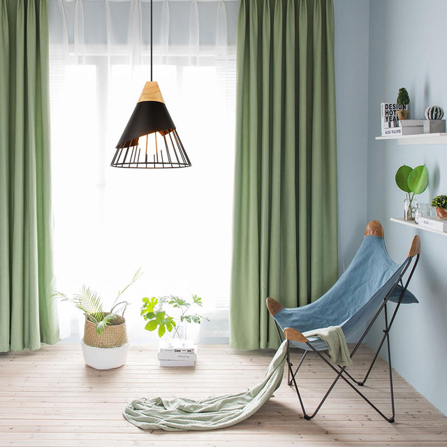 PHYVAL Pendant Lamp Modern E27 Pendant Lights Wood  For Bedroom Hanging Lamp Nordic Aluminum Lampshade LED Bulb Kitchen Light 3